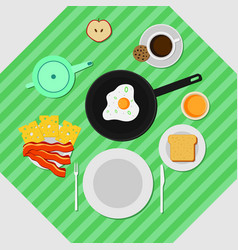 Flat colorful breakfast concept vector