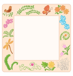 Frame with nature elements vector