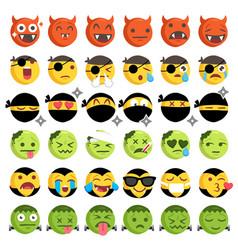 halloween costume emoticons set vector image