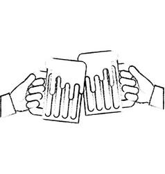hands holding beer mug foam celebration vector image