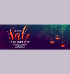 Happy diwali purple shiny sale banner design vector