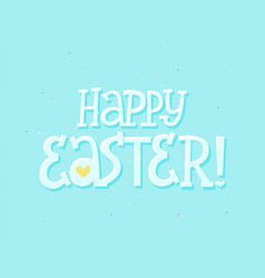Happy easter cute doodle letter greeting card vector