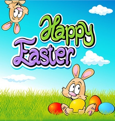 happy easter text- design with bunny eggs and vector image
