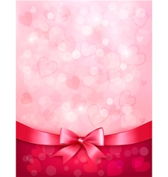 Holiday background with gift pink bow and ribbon vector