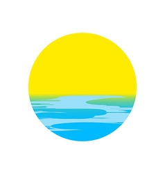 Icon sunset and sea waves vector