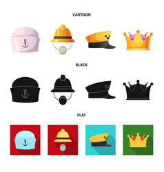 isolated object of headgear and cap logo set of vector image