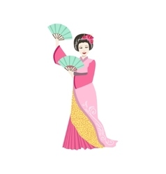 Japanese Geisha With Two Fans vector image