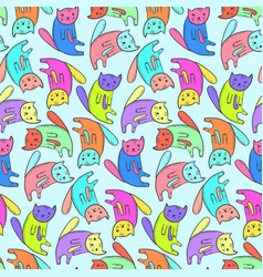 kids pattern with cute colorful cats vector image