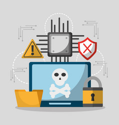 laptop computer privacy hacker danger vector image vector image