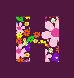 Letter of beautiful flowers h vector