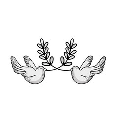 Line cute doves animal with branches to peace vector