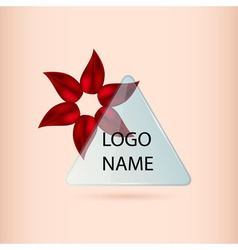 Logo banner with red petal flower and glass vector image