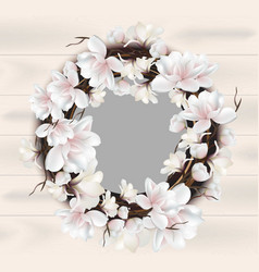 Magnolia floral wreath frame card place vector