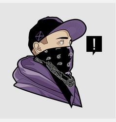 Man in cap and bandana art vector