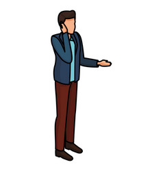 Man talking with smartphone avatar vector