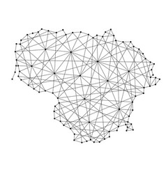 Map of lithuania from polygonal black lines vector