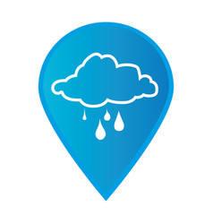 Mark icon pointer gps with silhouette rainy cloud vector
