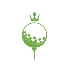 Monochrome silhouette with golf ball and crown vector