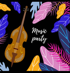 Musical background classical cello bright leaves vector