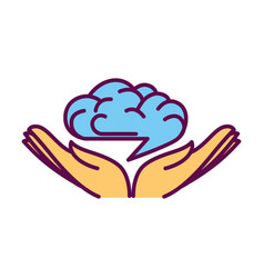open hand palms with human brain over them logo vector image