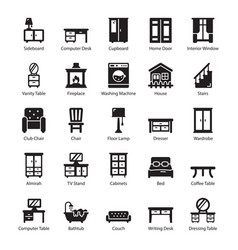 Pack furniture glyph icons vector