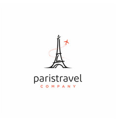 paris eiffel tower with plane for travel logo vector image