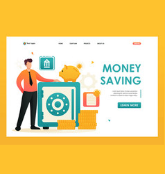 Person saves money in a safe for web design vector