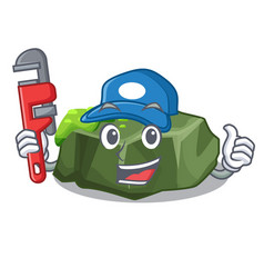 Plumber green rock moss isolated on cartoon vector