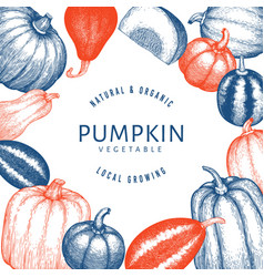 Pumpkin design template hand drawn thanksgiving vector