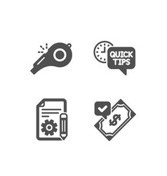 Quick tips documentation and whistle icons vector