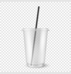 realistic 3d empty clear plastic disposable vector image