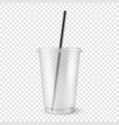 Realistic 3d empty clear plastic disposable vector