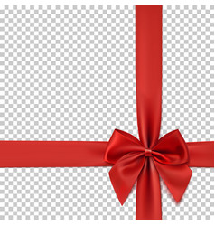 Realistic red bow and ribbon isolated vector