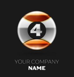 realistic silver number four logo symbol vector image