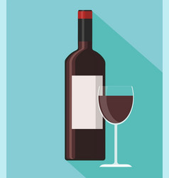 Red wine bottle and wine glass on blue background vector