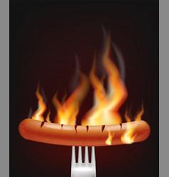 sausage on fire realistic menu advert vector image