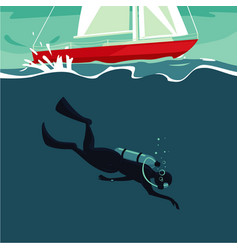 Scuba diver jumping underwater from boat vector