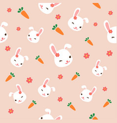 seamless bunny pattern with pink flowers cute vector image