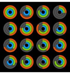 set circular colored progress diagram vector image