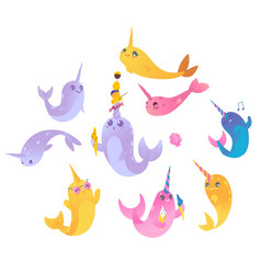 set cute cartoon narwhals with ice creams vector image