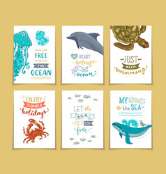 Set of 6 pre-made ocean greeting cards vector