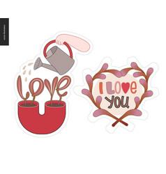 set of contemporary girlie love letter logo vector image