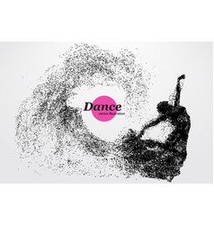 silhouette a dancing girl from particle dancer vector image