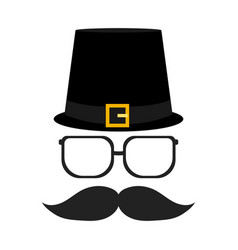 Silhouettes glasses and a mustache with a beard vector