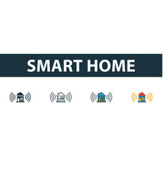 smart home icon set four simple symbols in vector image