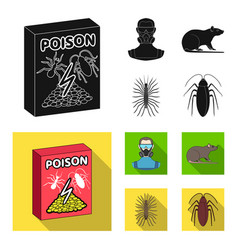 Staff packing with poison and pests black flat vector