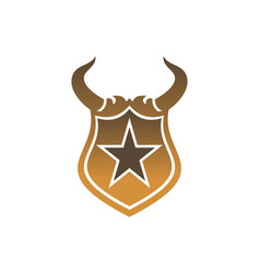 star horn gold shield logo icon vector image