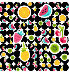 Summer fruits color seamless pattern vector