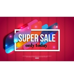 Super Sale shining banner on red background vector image