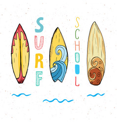 surf boards hand drawn sketch t-shirt print vector image